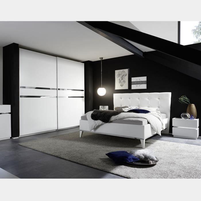 Chambre Adulte Blanc Laque Et Chrome Alfa L 160 X P 200 Cm Achat Vente Lit Complet Chambre Adulte Blanc Laque Et Cdiscount