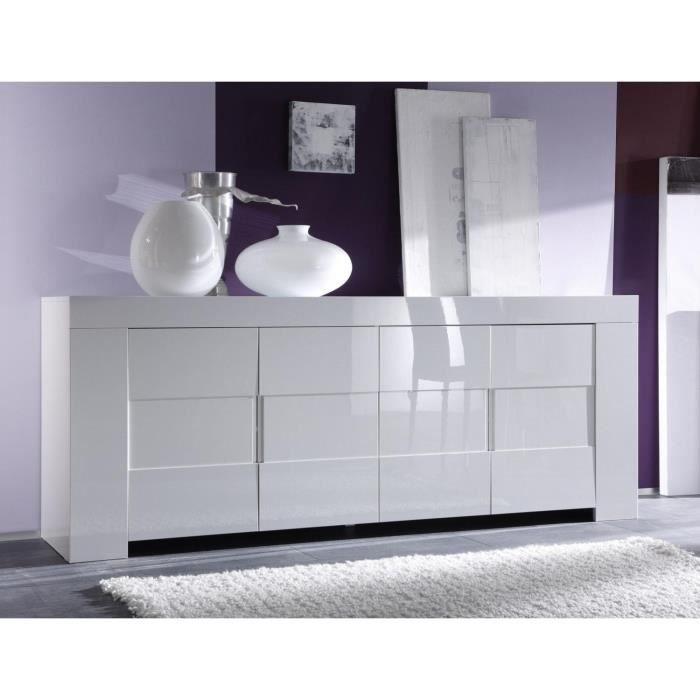 Buffet Bahut Blanc Laque 4 Portes Design Eleonore L 210 X P 50 X H 84 Cm Blanc