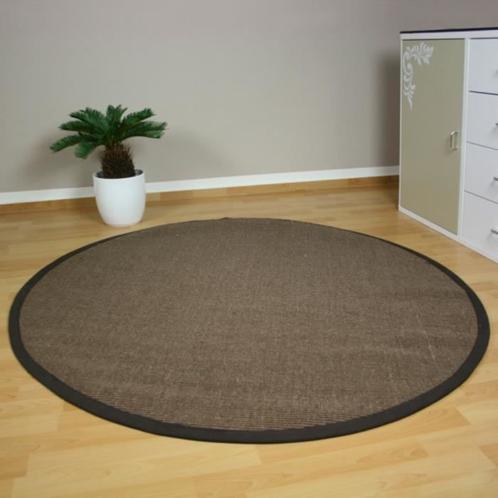 tapis rond en bambou brun 150 cm achat vente tapis. Black Bedroom Furniture Sets. Home Design Ideas