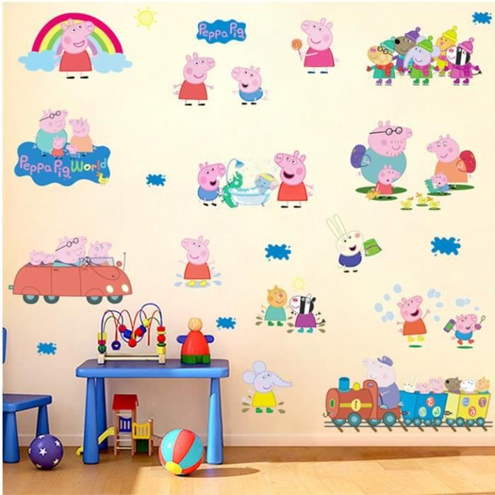 Stickers peppa pig achat vente stickers peppa pig pas for Autocollant decoration