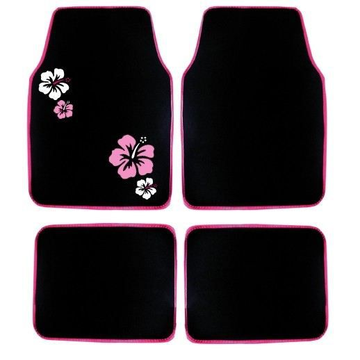 jeu de 4 tapis moquette noir broderies hibiscus achat. Black Bedroom Furniture Sets. Home Design Ideas