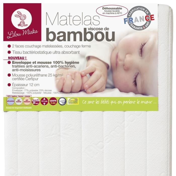 lilou miaka matelas b b bambou 60x120 cm mousse ferme 25 kg m3 1 personne blanc achat. Black Bedroom Furniture Sets. Home Design Ideas