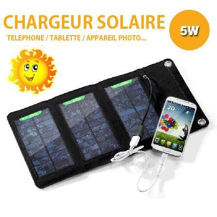 chargeur solaire 5w telephone tablette chargeur. Black Bedroom Furniture Sets. Home Design Ideas