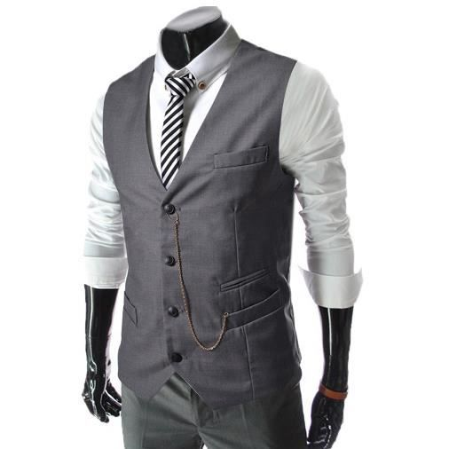 homme veste costume veste gilet gris achat vente gilet de costume cdiscount. Black Bedroom Furniture Sets. Home Design Ideas