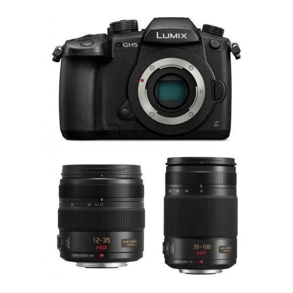 APPAREIL PHOTO RÉFLEX PANASONIC DMC-GH5 Black + 12-35mm F2.8 II + 35-100