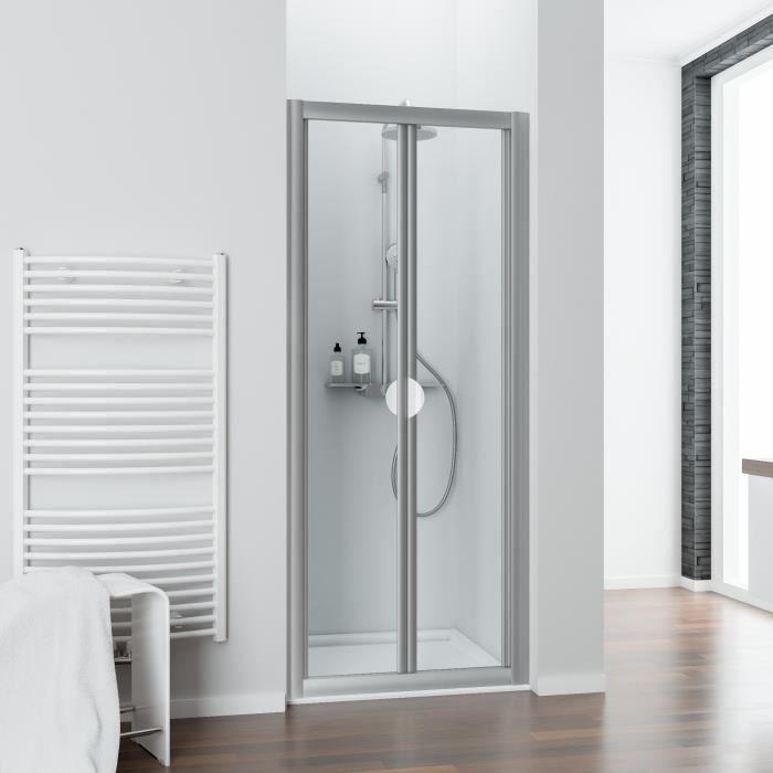 profil/é alu nature Schulte porte de douche battante en niche fermeture magn/étique 70 x 180 cm verre de s/écurit/é d/écor quattro