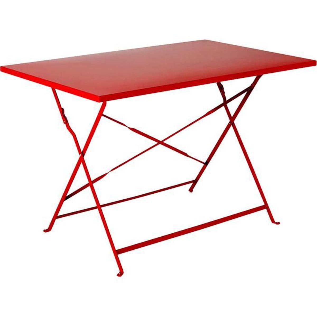 Pims Table de jardin pliante rouge en acier (2 à 4 places ...