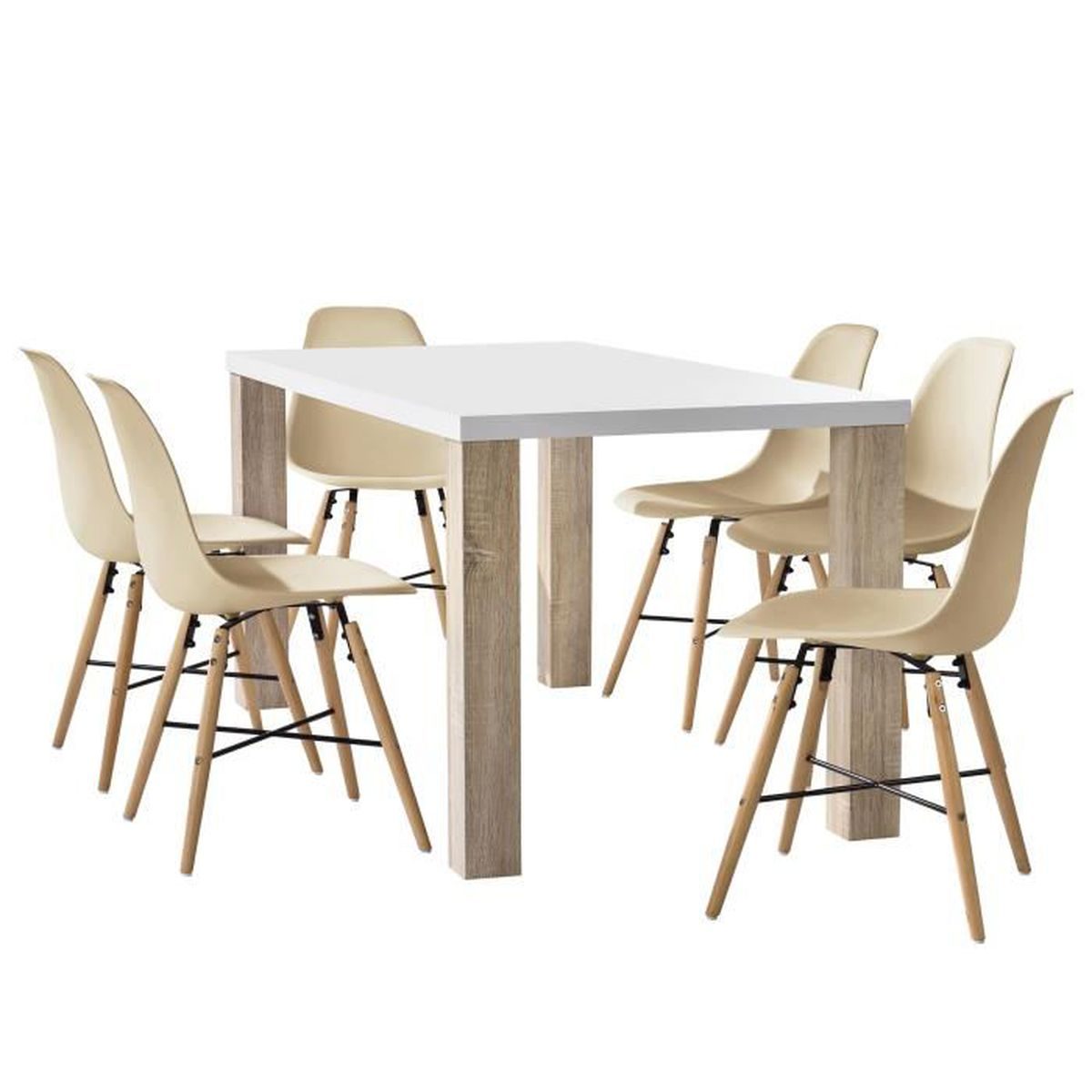 table manger ch ne blanc avec 6 chaises beige160x85cm salle manger cuisine achat. Black Bedroom Furniture Sets. Home Design Ideas