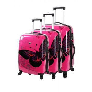 SET DE VALISES SET DE 3 VALISES COLLECTION BORABORA PAPILLON ROSE
