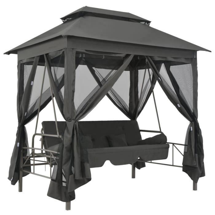 2709MEUB® Balancelle convertible Balancelle de jardin grand confort-Balancelle d'extérieur-Chaise de Balançoire à auvent Anthracite