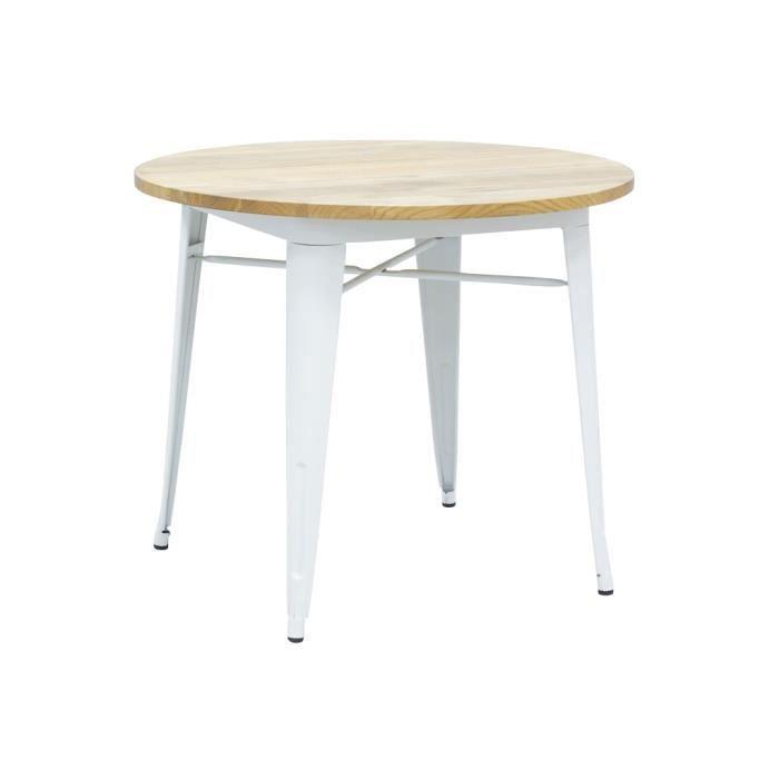 Table ronde industrielle en métal blanc et bois d'orme huilé Blanc