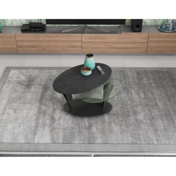 Table basse 2 plateaux pivotants ovales - céramique titane et verre - L95 x P60 x H43 cm