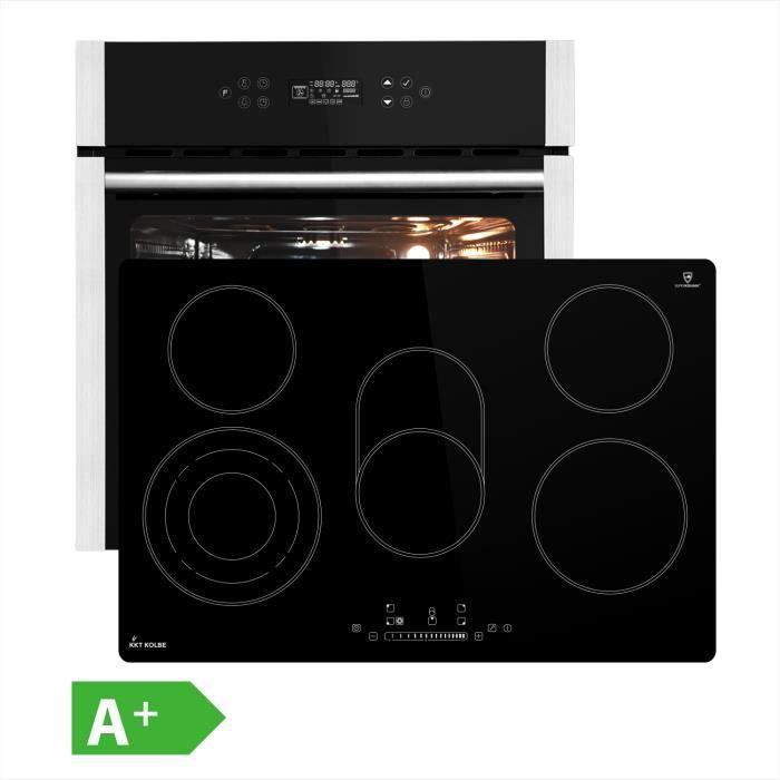 Four électrique encastrable 60cm + plaque vitrocéramique 77cm 5 zones de cuisson