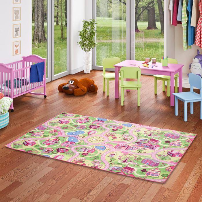 Tapis de jeu pour enfant Girls Little village motifs village - 17 tailles disponibles [160x160 cm]