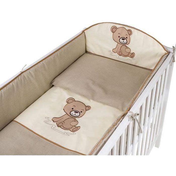 TOMI - Parure pour lit Bébé 60x120 cm -Ourson- - Beige - Housse de couette, taie d'oreiller, tour de lit.