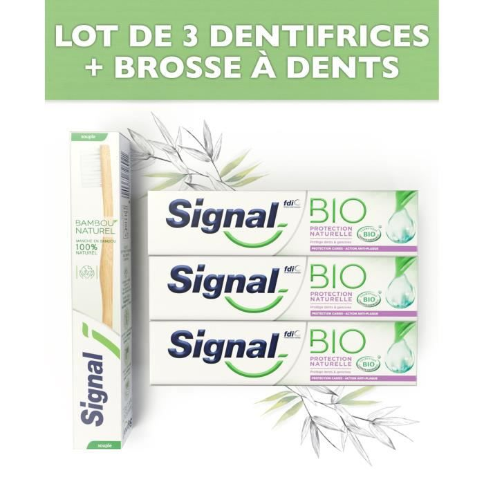 SIGNAL Pack 1 Brosse à dents + 3 dentifrices Bio Protection naturels
