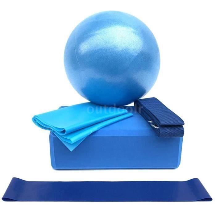 5Pcs Ballon de Yoga 25cm PVC+Bande Élastique 59 Pouces +Bloc de Yoga+Sangle en coton+Bande de boucle Bleu Wir19