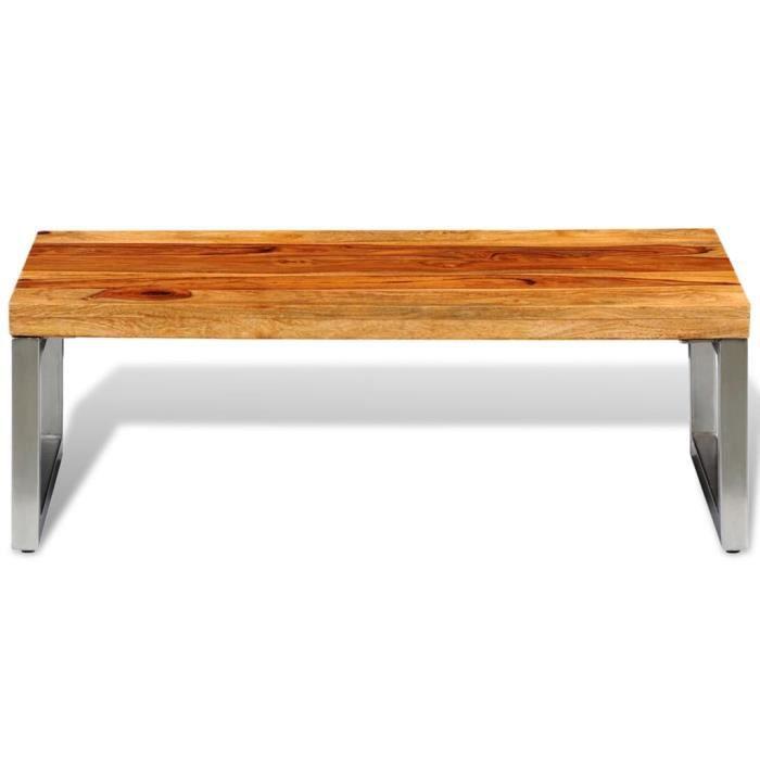 Le meilleur* -506878- Table Café - Table basse avec pieds en acier Bois Table à thé Table de salon