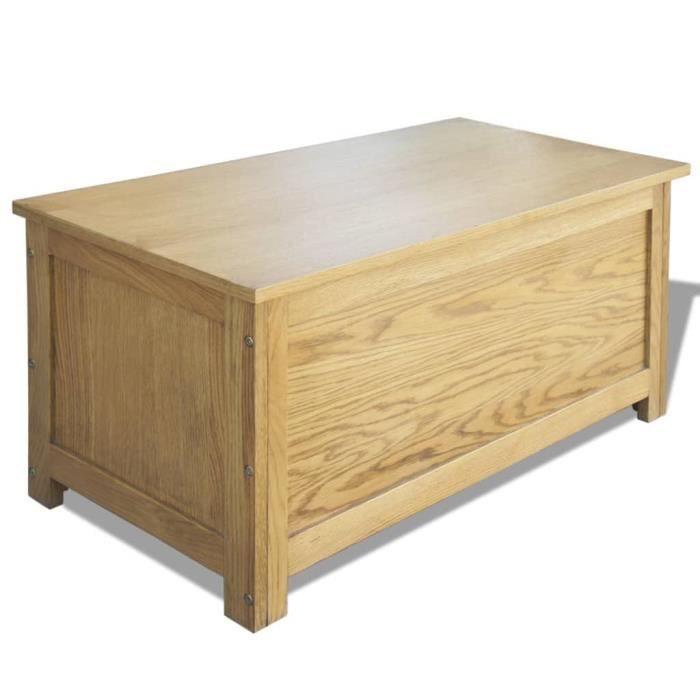 COUP DE COEUR 95918 - Coffre de rangement - Coffre de jardin RANGEMENT D'EXTERIEUR 90 x 45 x 45 cm Bois de chêne massif