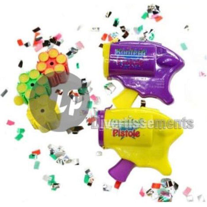 pistolet à confettis 10cm & 3 cartouches 6 coups