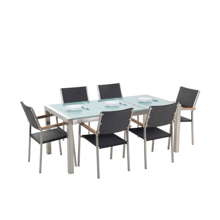 Set de jardin en rotin avec plateau en verre et 6 chaises 180 cm GROSSETO
