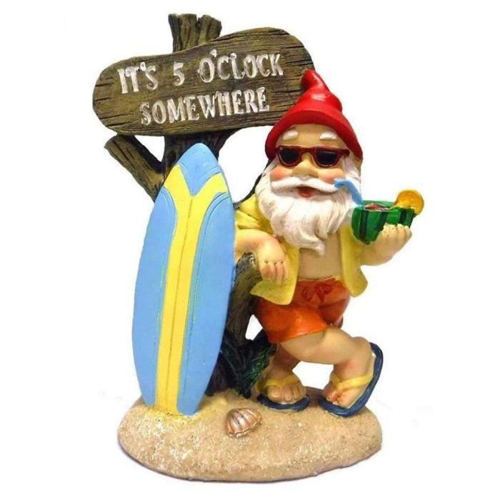 Garden Gnome Statue étanche de jardin en résine peint à la main nain Ornements en plein air avec barbe blanche Décorations Pastèqu