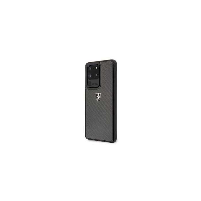 Coque pour Samsung S20 ultra G988 logo Ferrari Heritage carbone noir