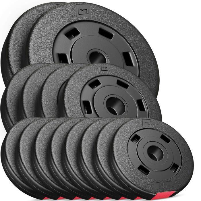 Plaques de poids Hop-Sport Poids en plastique de 30 kg - SET C - 8x1,25 kg + 4x2,5 kg + 2x5 kg