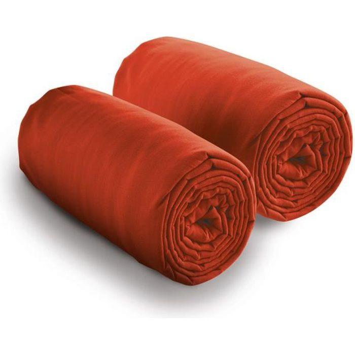 Lot de 2 draps housse 80x200 cm pour lit double 100% coton 80 X 200 Rouge