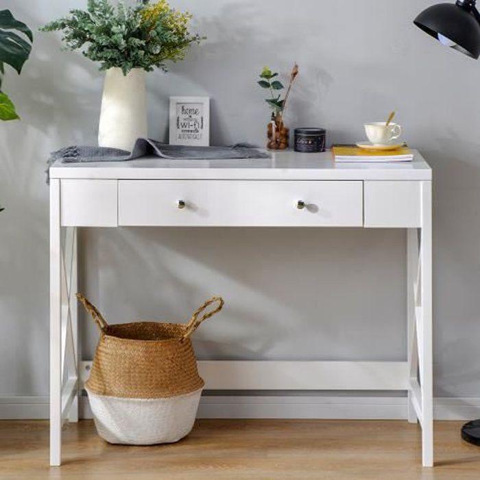 Table de Console Bureau design industriel avec 1 tiroir en Bois MDF BLANC 100x48x78cm