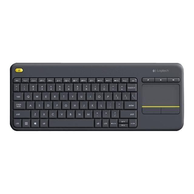 Logitech Clavier K400 Plus Sans fil Connectivité Usb Interface Pavé tactile Anglais (Royaume Uni) Noir Rf