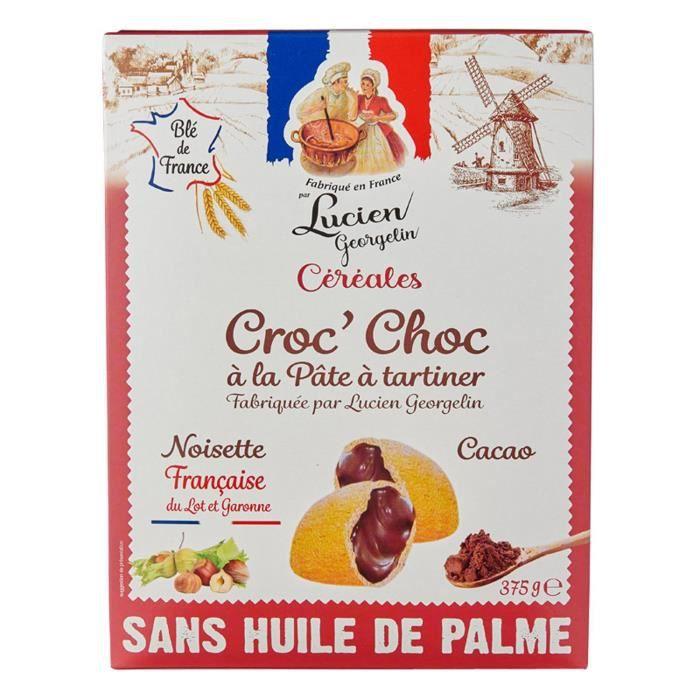 LUCIEN GEORGELIN Céréales Croc' Choc à la Pâte à Tartiner - Noisettes du Lot-et-Garonne - 375 g