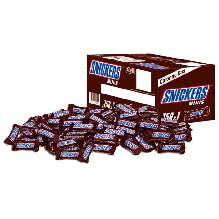 Carton de 150 barres de chocolat Snickers MINIS