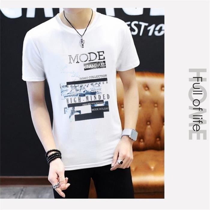 Tee Shirt hommes casual personnalité été T-shirt col rond Respirant Slim tendance imprimée fashion
