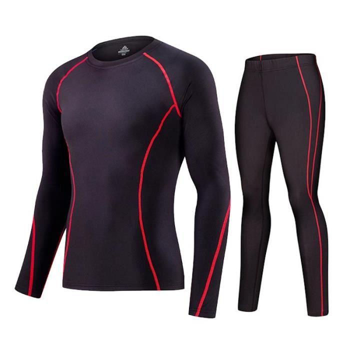 Ensemble Vêtements de Compression Maillot et Pantalon Fitness Respirant Séchage Rapide Tenus de Sport
