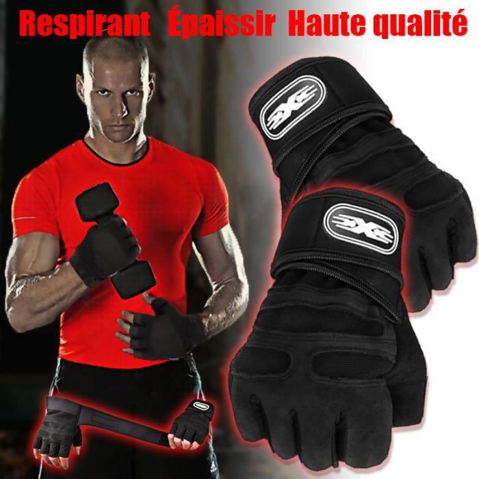 Gant Fitness,Gants de Sport Anti-dérapant avec Soutien au Poignet pour Levage de Poids D'entraînement,Protection Paume Forte,XL