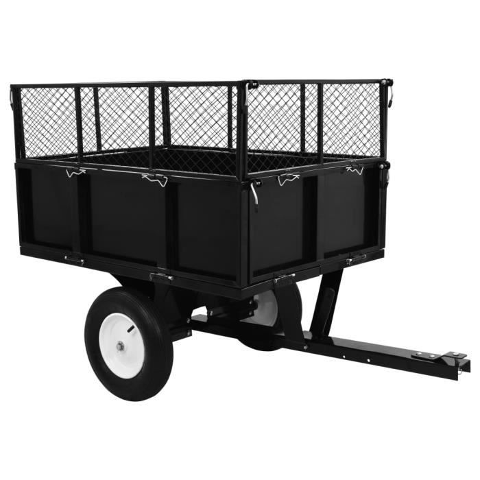 8740VENTE BEST•Remorque basculante pour tra Remorque basculante pour tracteur de pelouse Charge de 300 kg SIZE:153 x 77 x 103 cm