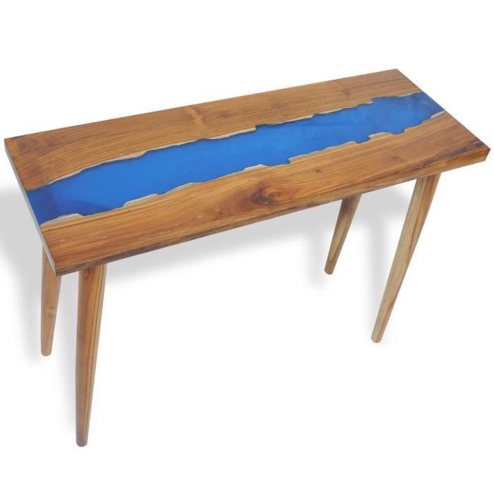 Table console extensible Table d'Appoint Table d'entrée contemporain Teck Résine 100 x 35 x 75 cm