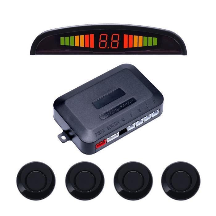 Podofo Radar de Recul avec Afficheur Inverser 4 Capteurs de Stationnement (Noir)