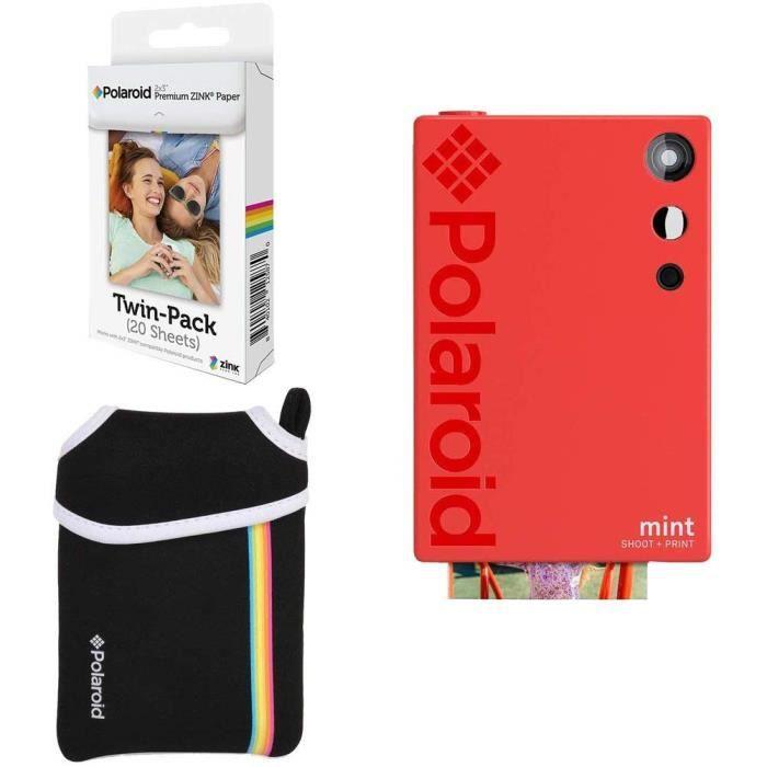 Polaroid Mint Appareil Photo instantané (Rouge) Ensemble Basique + Papier (20 Feuilles) + Sacoche 367