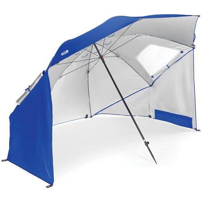 Parasol Sport Brella Bleu, protège du vent, de la pluie et du soleil, bloque les rayons UV nocifs et se plante dans tous les sols