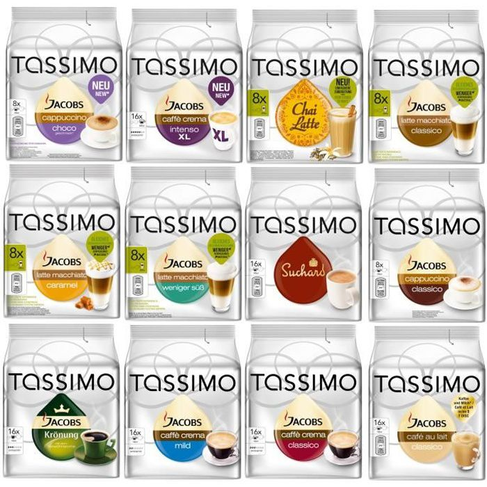 Tassimo Cafe Set 144 Dosettes 12 variétés