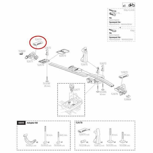 Transporteurs Pièces détachées Thule Rim Protector 52670 Proride 598 - Taille Unique - Noir