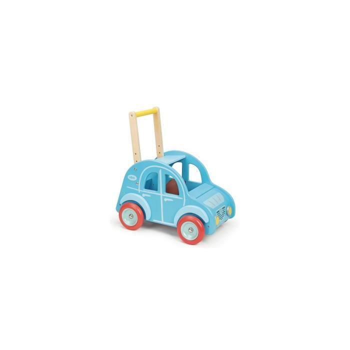 Chariot de marche Deudeuch bleu en bois - Vehicule a pousser - Vilac - Des 1 an