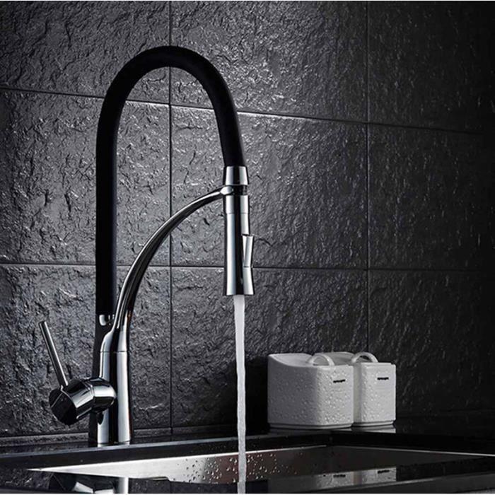 Robinet de cuisine noir /à 3 voies pour filtre /à eau 360 deg; Mitigeur rotatif pour /évier de cuisine Robinet Robinet 2 leviers en laiton 3 en 1