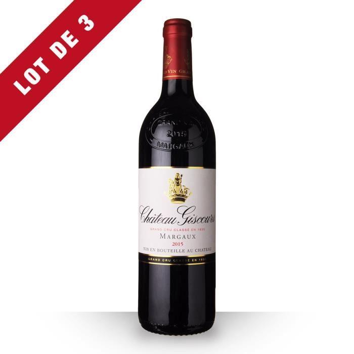 VIN ROUGE 3x Château Giscours 2015 AOC Margaux - 3x75cl - Vi