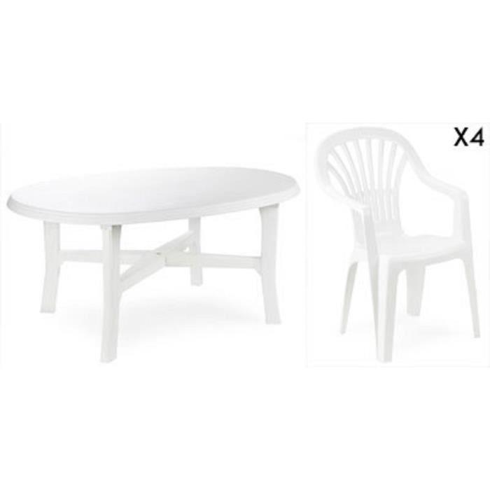 Table ovale blanche + 4 fauteuils empilables blancs avec ...