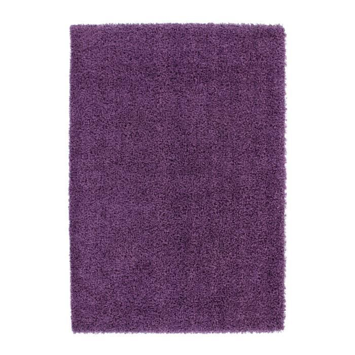 tapis de salon violet shaggy 50 mm moderne dessin 160x160. Black Bedroom Furniture Sets. Home Design Ideas