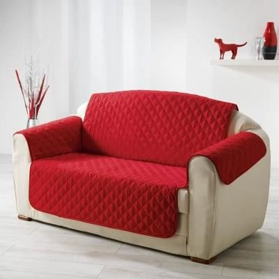 Prot ge canap 3 places 279x179 cm rouge achat vente for Housse de canape 4 places