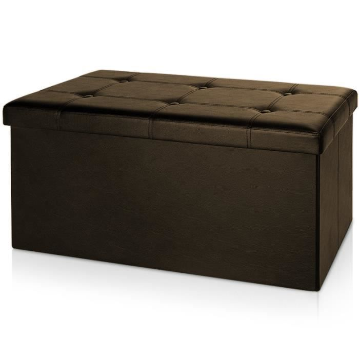 tabouret avec coffre rangement 80x40x38cm marron achat vente tabouret mdf cdiscount. Black Bedroom Furniture Sets. Home Design Ideas